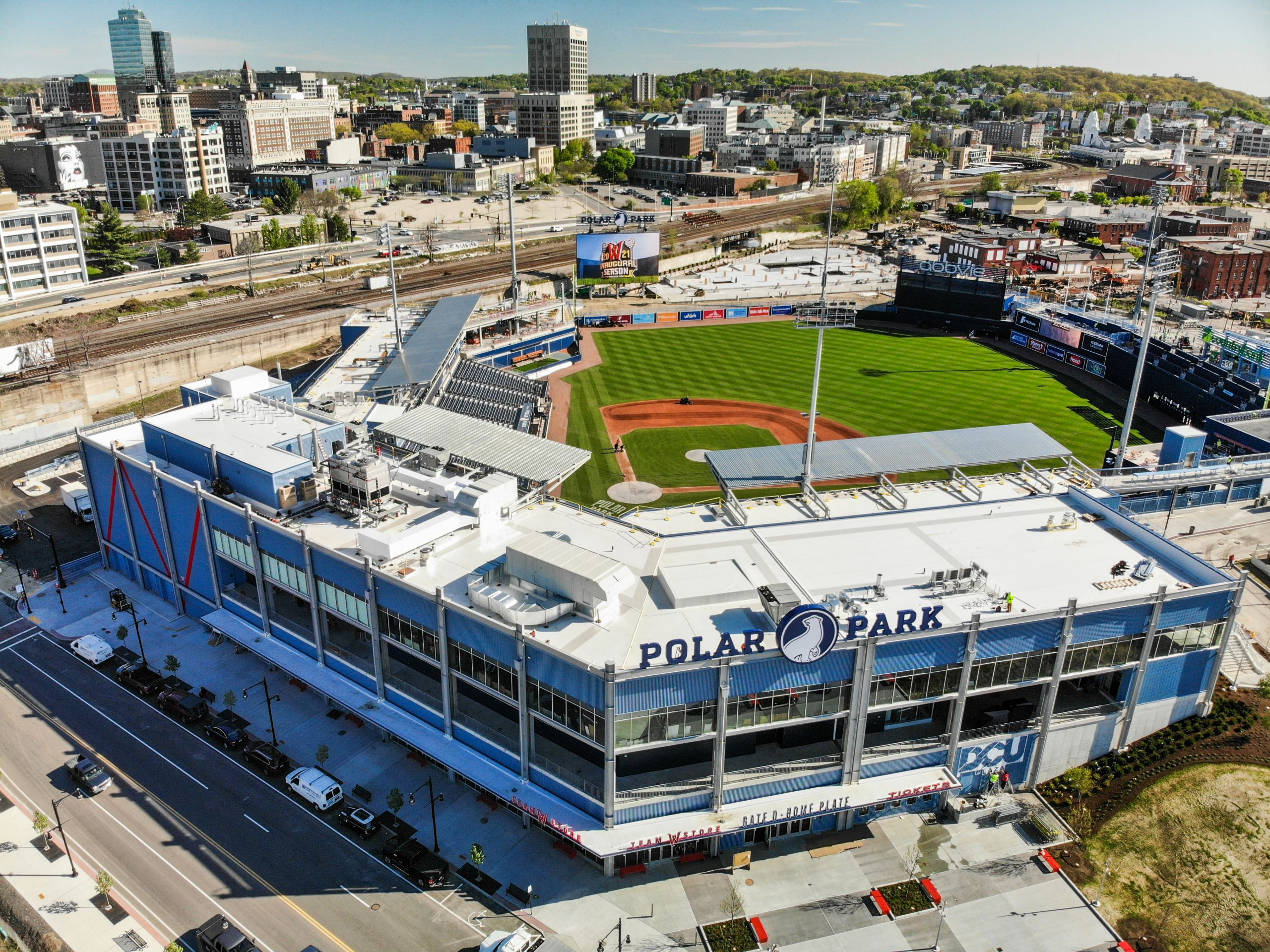Drone photo of the new Polar Park stadium in Worcester, MA
